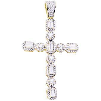 Premium Bling - 925 sterling sølv Kors vedhæng-guld