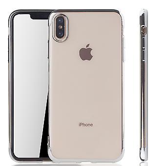 Caso de telefone celular para Apple iPhone XS Max Silber - claro - silicone TPU de volta tampa protetora em prata lado transparente / brilhante