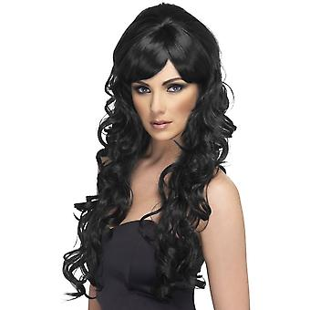 Largo negro rizada peluca, peluca de estrella Pop, accesorio de disfraces