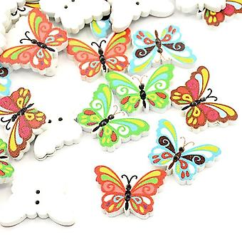 Packet 20 x Mixed Wood 24mm Butterfly 2-Holed Patterned Sew On Buttons HA09805