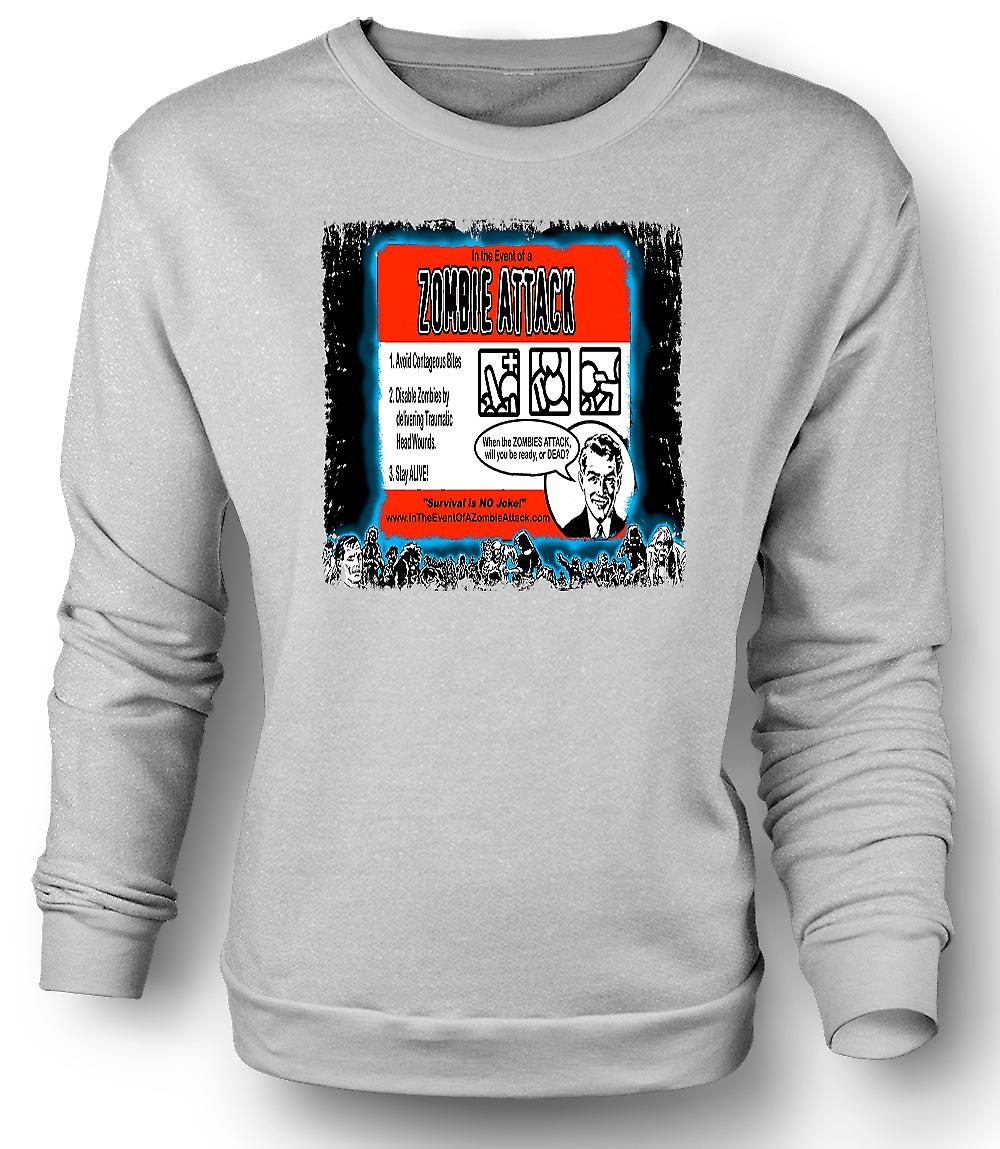 Mens Sweatshirt Zombie Attack Rules - Funny