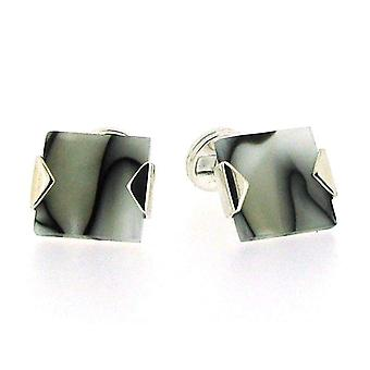 925 Silver Square Shaped Cufflinks With Black & White Marble Design By TOC