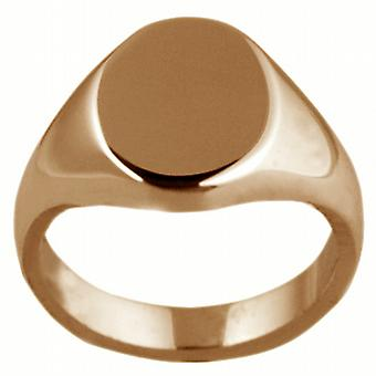 9ct Rose Gold 13x10mm solid plain oval Signet Ring Size I