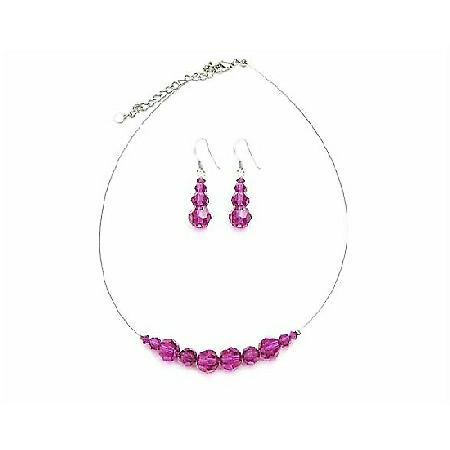 Customize Your Color Round Swarovski Fuchsia Crystals Wedding Jewelry