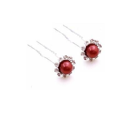 Red Hair Accessories Wedding Hair Pin Bridal Bridesmaid Hair Pin