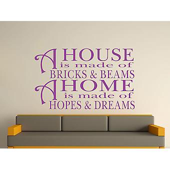 A House Is Made Of Bricks And Beams v2 Wall Art Sticker - Purple