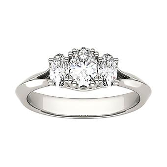 14K White Gold Moissanite by Charles & Colvard 6x4mm Oval Engagement Ring, 1.02cttw DEW