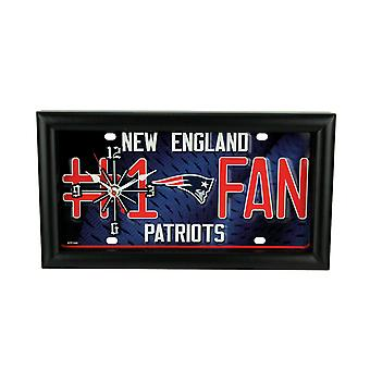 NFL New England Patriots Number 1 Football Fan License Plate Mantel or Wall Clock
