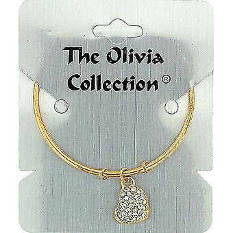 The Olivia Collection Goldtone Bangle with Rhinestone Set Heart Charm