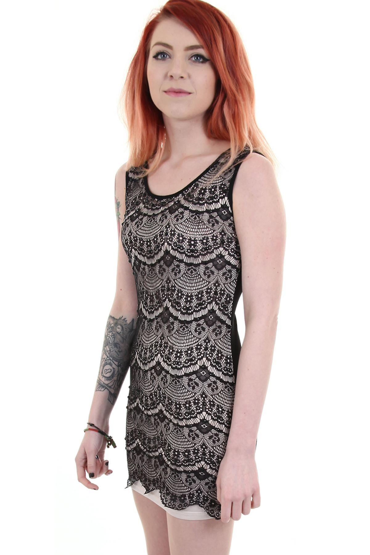 Ladies Black Beaded Diamante Lace Front Nude Lining Party Evening Women's Top
