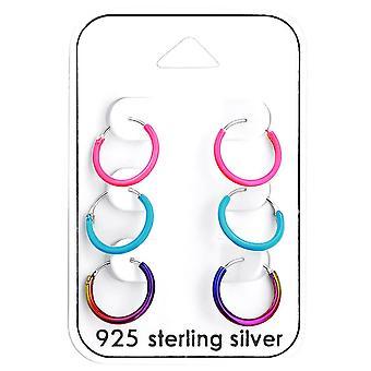 Children's Sterling Silver Coloured Hoop Earrings - Set of 3