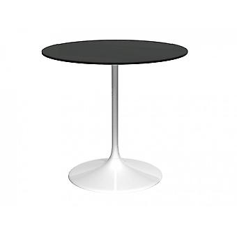 Gillmore Space Pedestal Medium Dining Table Black Glass And White