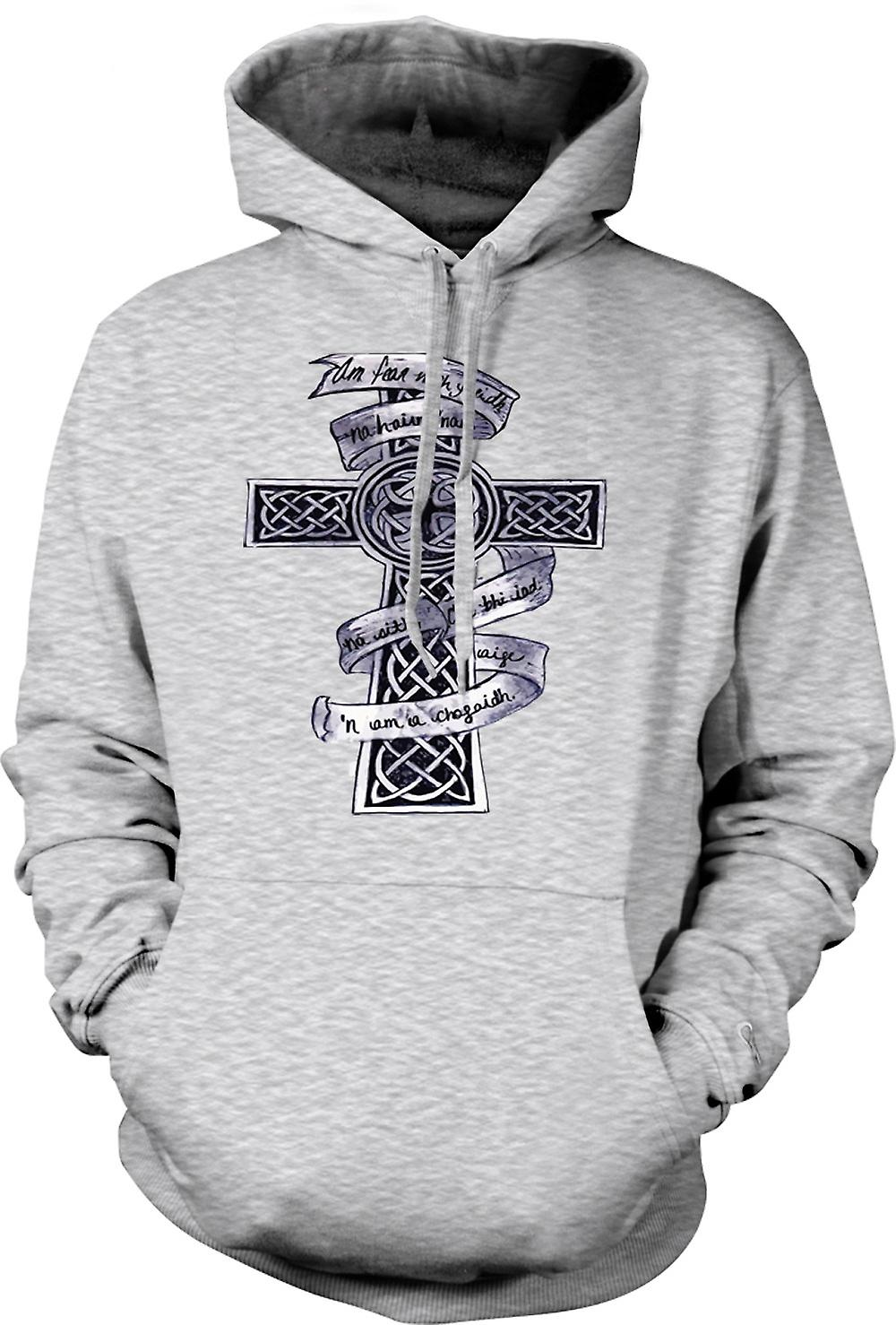 Mens Hoodie - Celtic Cross Tribal Tattoo