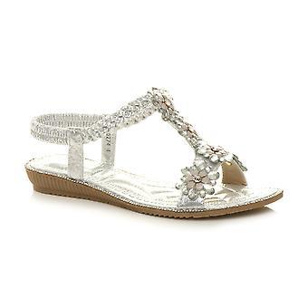 Ajvani Womens låg kil häl flätad flätade T-Bar blomma Diamante slingback sandaler