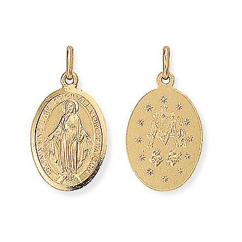 Jewelco London 9ct Oro Miracoloso Madonna (Virgin Mary) Medallion Charm Ciondolo 13x24mm