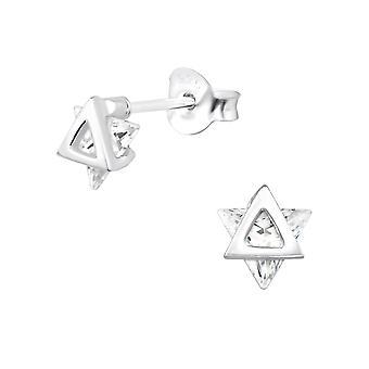 Star - 925 Sterling sølv Cubic Zirconia øret knopper - W30080X