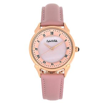 Sophie and Freda Mykonos Mother-Of-Pearl Leather-Band Watch - Light Pink