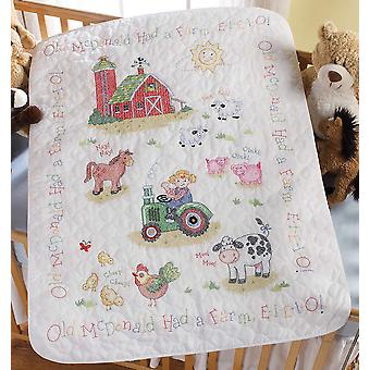 On The Farm Crib Cover Stamped Cross Stitch Kit 34