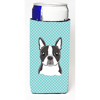 Checkerboard Blue Boston Terrier Ultra Beverage Insulators for slim cans BB1141MUK
