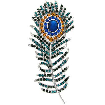 Broschen Store Grün Blau Orange Crystal Peacock Feather Brosche