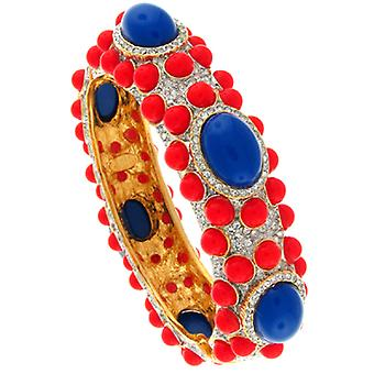 Kenneth Jay Lane Gold & Crystal Turquoise & Light Coral Hinged Bracelet