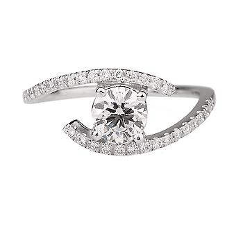 1 1/6 Carat G SI2 Diamond Engagement Ring 14k White Gold Solitaire w Accents Micro Pave Round