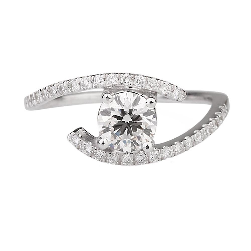 0.65 CTW 5.00MM Moissanite EngageHommest sacue with Diamonds 14K blanc or Micro Pave Twist Round