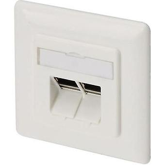 Network outlet Flush mount Insert with main panel and frame CAT 6A 2 ports Digitus Professional DN-9008 Pure white