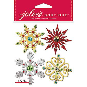 Jolee's Boutique Dimensional Stickers-Metallic Snowflakes E5022008