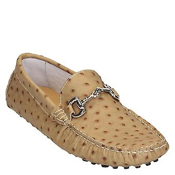 Beige ostrich textured leather driving moccasins for men