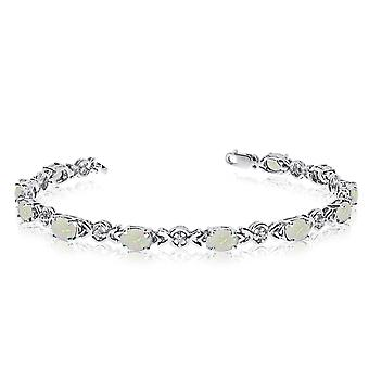 14K White Gold Oval Opal and Diamond Bracelet