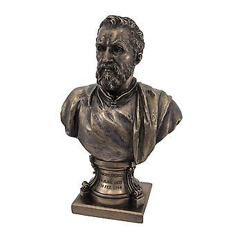 Michelangelo Bronze Finish Bust Statue Artist