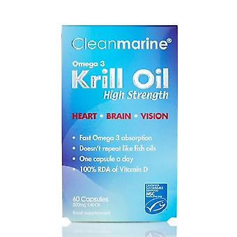 Clean Marine Krill Oil 500mg, 60 Gelcaps
