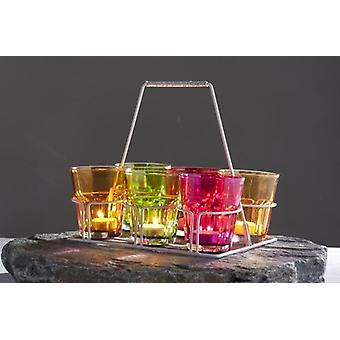 6 Piece Glass Candle Holder With Metal Basket