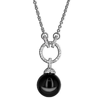 Necklace With Pendant 925 Sterling Silver Jewellery, Black Pearl, White Zirkonia