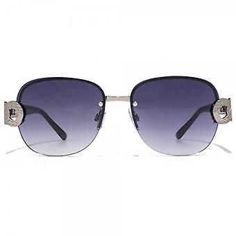 Carvela Metal Link Temple Rimless Sunglasses In Light Gunmetal Nude