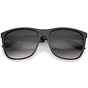 Classic Subtle Flat Top Square Lens Horn Rimmed Sunglasses 57mm