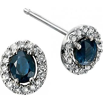 Elements Gold Skylight 9ct White Gold Sapphire and Diamond Oval Earrings - Blue/White Gold