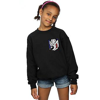 Looney Tunes Girls Pepe Le Pew Face Faux Pocket Sweatshirt