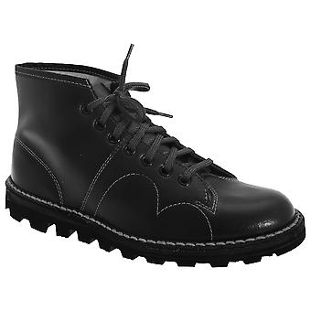 Grafters Boys Original Coated Leather Retro Monkey Boots