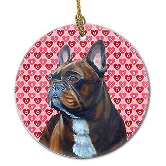 Carolineøerne skatte LH9160CO1 fransk Bulldog Valentine's kærlighed og hjerter Cerami