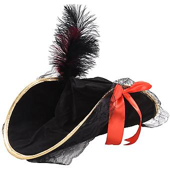 Adults Female Pirate Hat with Feather Fancy Dress Accessory
