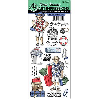 Art Impressions Clear Stamp Set-Pack Your Bags 4932