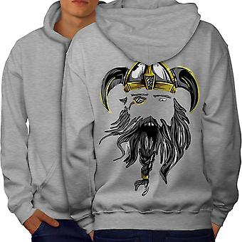 North Warrior Axe Men GreyHoodie Back | Wellcoda