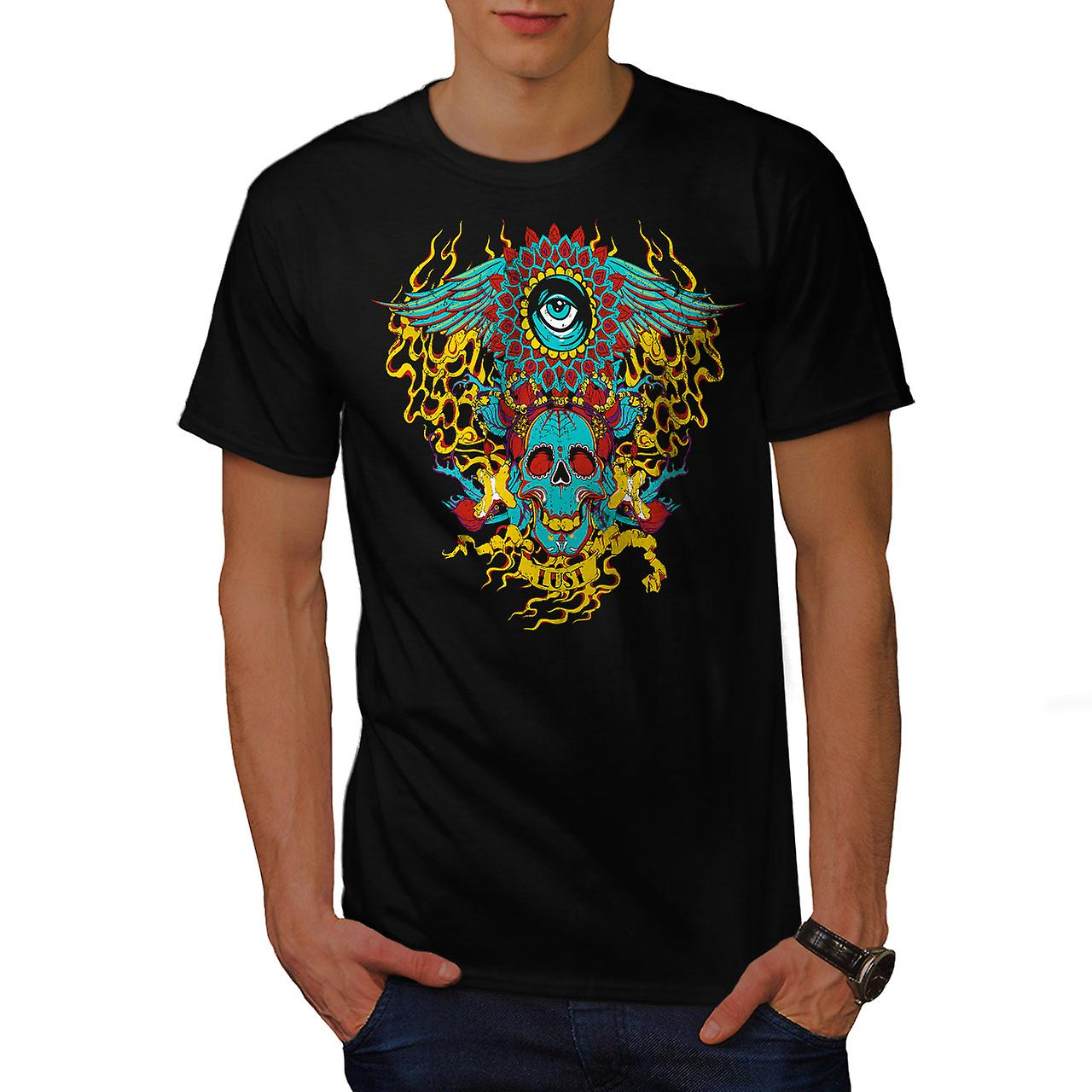 Heart Flame Eye Skull Men Black T-shirt | Wellcoda
