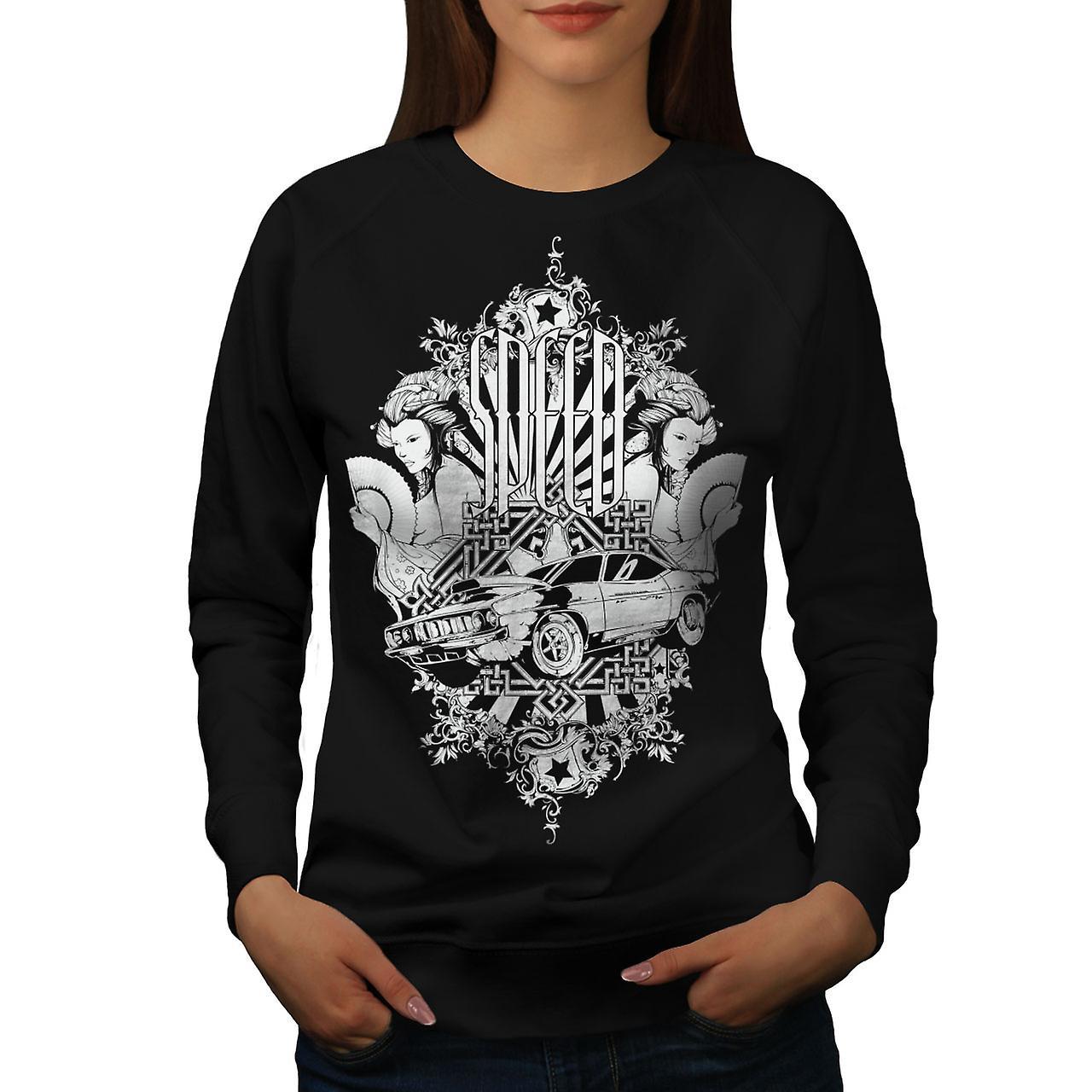 Speed Vintage Girl Car Women BlackSweatshirt | Wellcoda