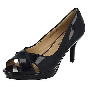 Ladies Spot On Open Toe Court Heels F10069