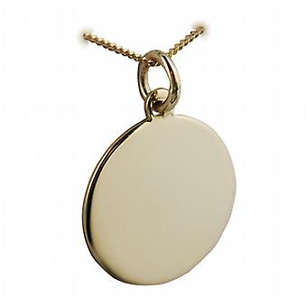 18ct Gold 20mm round plain Disc with a light curb Chain 20 inches