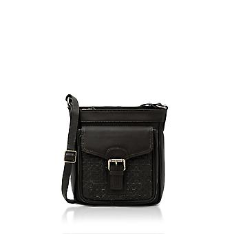 Grasmere Woven Leather Buckle Bag in Black
