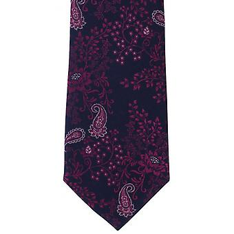 Michelsons of London Flowing Floral Silk Tie - Navy/Pink